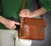 Gun Tote'n Mamas Tooled American Cowhide Concealed Carry Shoulder Bag - GTM-22-Medium Tan with Dark Tan Accents
