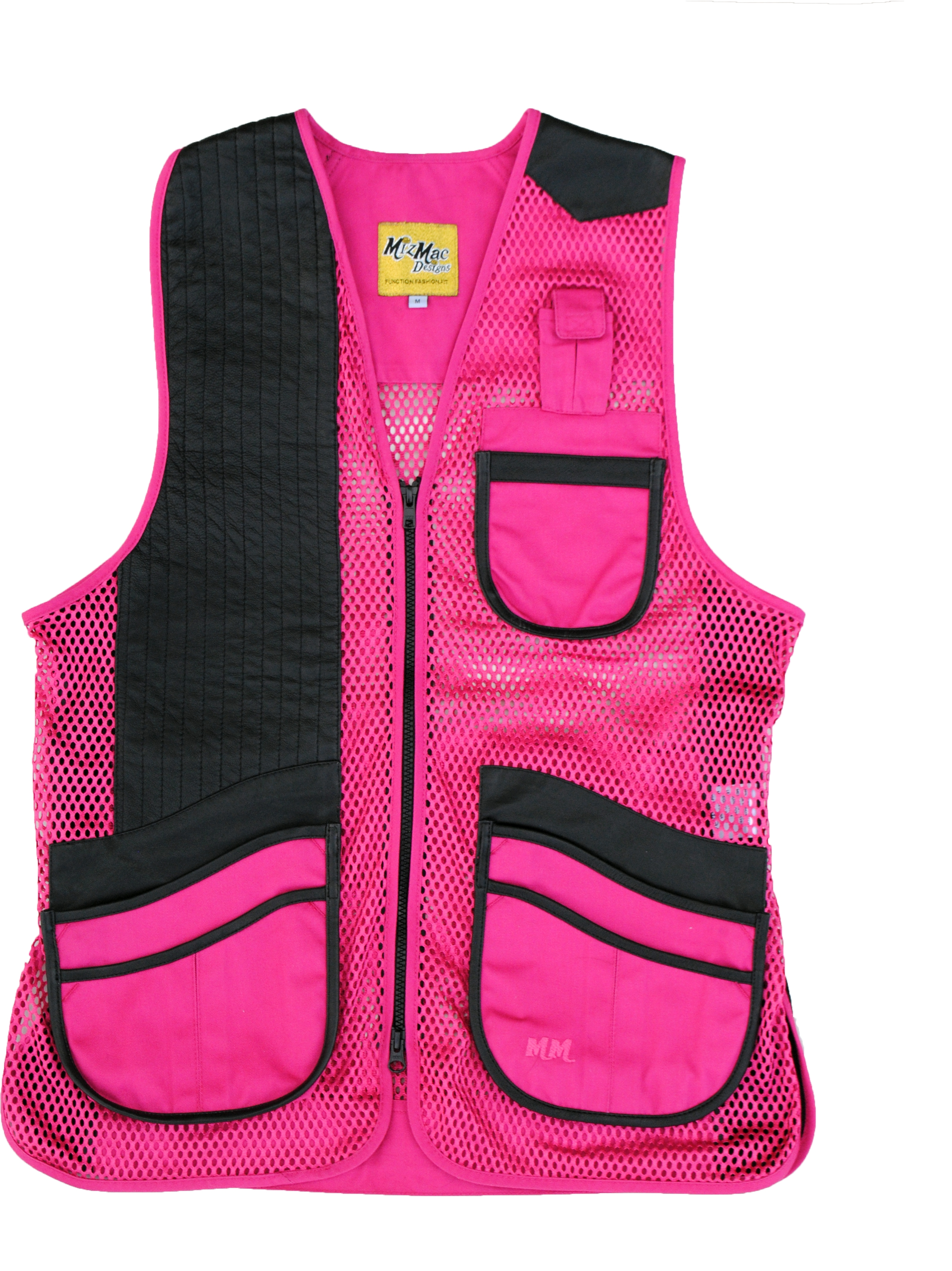 New! MizMac Womens Perfect Fit Mesh Vest - Genuine Leather Pad - Hot Pink  womens shooting vest, mesh vest, leather shooting vest, leatherette vest, adjustable vest