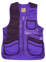 MizMac Womens Perfect Fit Mesh Vest - Genuine Leather Pad - Purple womens shooting vest, mesh vest, leather shooting vest, leatherette vest, adjustable vest