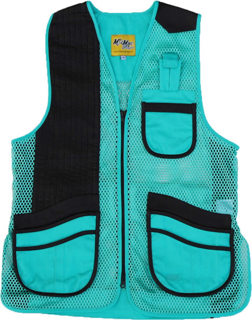 New! MizMac Womens Perfect Fit Mesh Vest - Genuine Leather Pad - Turquoise womens shooting vest, mesh vest, leather shooting vest, leatherette vest, adjustable vest