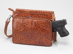 Gun Tote'n Mamas Tooled American Cowhide Concealed Carry Shoulder Bag