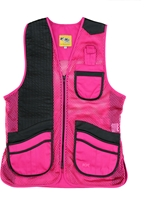 MizMac Womens Perfect Fit Mesh Vest - Genuine Leather Pad - Hot Pink womens shooting vest, mesh vest, leather shooting vest, leatherette vest, adjustable vest