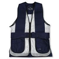 Wild Hare Primer Mesh Vest, Navy/Silver - Ambidextrous Shooting Pad mesh shooting vest, heatwave, trap, skeet, sporting clays vest, shockeater, wild hare, wild hare vest, primer vest, dual pad